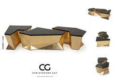 Product Of The Month: ENSEMBLE Looking for Christopher Guy's latest surreal piece? Monumental coffee table design featuring three individual geometric sections, topped with marble. The three elements can be aligned as shown or independe Metal Furniture, Furniture Styles, Table Furniture, Contemporary Furniture, Furniture Design, Coffee Table With Stools, Large Coffee Tables, Tea Table Design, Coffee Table Design