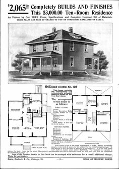 Vintage House Plans, Modern House Plans, Modern House Design, House Floor Plans, Building Plans, Building A House, Building Ideas, Sears Catalog Homes, Square House Plans