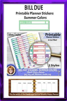 Bill Due and Pay Printable Planner Stickers Summer Colors #printableplannerstickers #plannerstickers #printablestickers #planner #planning #plannercommunity #planneraddicts #happyplanner #mambi #erincondren #billpay #finances