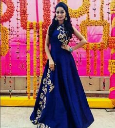 Laadesar Tridha Choudhury In Kalki Navy Blue Gown Adorn In Zari And Sequin In Floral Call or Whatsapp on or visit insta page WOMN CLOTHING. we are designer studio specialized in custom designer dresses. No CASH ON DELIVERY, worldwide delivery. Indian Wedding Gowns, Indian Gowns Dresses, Indian Outfits, Designer Gowns, Indian Designer Wear, Designer Anarkali, Party Kleidung, Western Gown, Blouse Designs