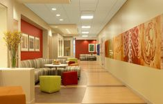 Jump Trading Simulation & Education Center corridor wall graphic by Spellman Brady & Company Healthcare Architecture, Medical Design, Area 47, Corridor Design, Hospital Design, Waiting Area, Waiting Rooms, Clinic Design, Townhouse