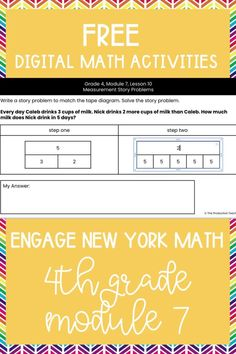 Master the skills taught in Engage New York Math Grade 4 with these FREE digital math activities. These interactive math worksheets are on Google Slides, so you can easily move pieces or fill in blanks to solve 4th grade math problems to review Engage New York Math Grade 4. These are perfect for digital math centers or interactive math worksheets. Best of all? They are FREE at TheProductiveTeacher.com! #engagenewyork #digitalmath #onlinemath #interactivemathworksheets #TheProductiveTeacher 4th Grade Activities, Division Activities, Fraction Activities, Math Games, Fractions Worksheets, Teacher Worksheets, Math Fractions, Multiplication, 4th Grade Math Problems