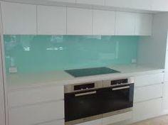 kitchen aqua glass splashback