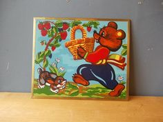 Mishka BEAR / Russian Fairy Tale Painting / Vintage by EUvintage