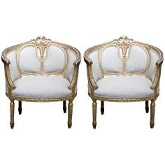 Pair of French Louis XV Gilded Bergere Chairs ❤ liked on Polyvore featuring home, furniture, chairs, gilding furniture, gilt chair and gilt furniture