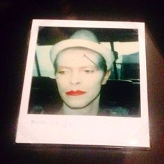 "Polaroid of Bowie in the ""Ashes to Ashes"" video shoot, exhibited in David Bowie Is in Berlin."