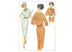 1950s Dress Pattern Slim Blouson Dress Bust by PrettyPatternShop, $5.95