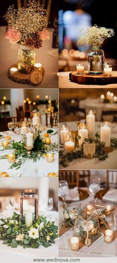 32 Greenery Wedding Decor Ideas: Budget and Eco Friendly Wedding : Lighting and vintage wedding centerpieces wedding table settings Green Wedding Decorations, Vintage Wedding Centerpieces, Flower Centerpieces, Centerpiece Ideas, Kitchen Decorations, Flowers Decoration, Rustic Centerpieces, Diy Decoration, Wedding Ceremony Ideas