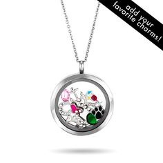 Personalize our new Round Build A Charm Glass Floating Locket with your favorite charms!
