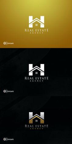 homedecor logo home logo Golden House - H letter Logo Property Logo, Property Design, Real Estate Logo Design, Real Estate Branding, Simple House Exterior Design, Logo Design Software, Barn House Kits, Identity, H Logos