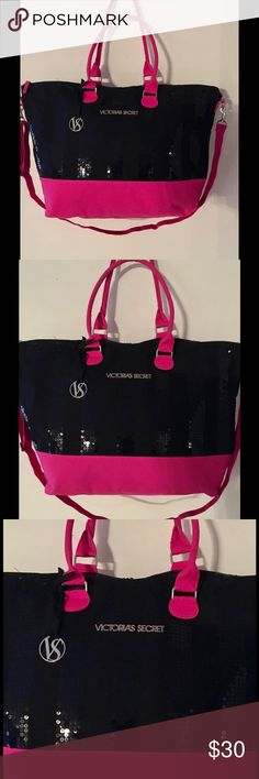 "Victoria's Secret 2013 LIMITED EDITION 💞 NEVER USED Large Victoria's Secret 2013 LIMITED EDITION Pink Tote Bag with Black Sequins Height: 15"" Length: 21"" Depth: 8"" Long Adjustable Strap Victoria's Secret Bags Travel Bags"