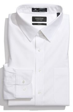 Nordstrom Men's Shop Smartcare™ Wrinkle Free Trim Fit Solid Pinpoint Dress Shirt available at #Nordstrom