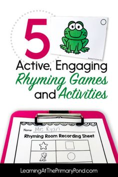 Phonemic Awareness Activities, Rhyming Activities, Speech Therapy Activities, Kids Learning Activities, Learning Resources, Rhyming Word Game, Cvc Words, Phonics Lessons, Writing Lessons