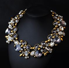 WHOLESALE FASHION JEWELRY ACCESSORIES TOP SELLING NEW DESIGN WOMEN BIB STATEMENT GORGEOUS BLACK MIXED CRYSTAL NECKLACE COLLAR PENDANT