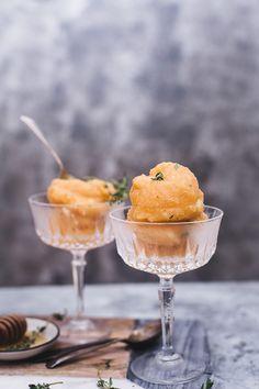 Muskmelon Thyme Sorbet 5 Feel Good Food, Sugar Free Recipes, Summer Treats, Fresh Lemon Juice, Light Recipes, Indian Food Recipes, Food Print, Cooking Recipes