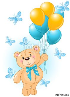 Buy Teddy Bear Birthday by Dazdraperma on GraphicRiver. Teddy Bear fly with balloons surrounded by butterflies. Buy Teddy Bear, Teddy Bear Cartoon, Teddy Bear Birthday, Cute Teddy Bears, Animal Birthday, Clipart Baby, Teddy Bear Drawing, Hanging Balloons, Bear Theme