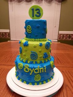 lime green and blue cake | bright neon blue lime green 13th birthday cake | Cakes I've Made