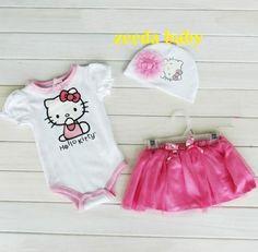 NEW Hello Kitty 3 Piece SET Onesie Beanie Skirt Size 6M 12M 18M   eBay