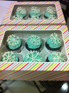 Frozen theme snowflake topped cupcakes