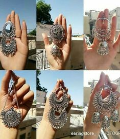 Jewelry For Sale Online Indian Jewelry Earrings, Indian Jewelry Sets, Jewelry Design Earrings, Silver Jewellery Indian, Ear Jewelry, Silver Jewelry, Silver Ring, Silver Necklaces, Silver Earrings