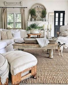 This farmhouse living room is so cozy. Like the mantle Topiaries, grainsack pillows. Gorgeous French Country Living Room Decor Ideas Source by laniefave Modern Farmhouse Living Room Decor, French Country Living Room, Rustic Farmhouse, Farmhouse Design, Country French, Farmhouse Ideas, French Farmhouse Decor, Cottage Living Room Decor, Living Room Decorations
