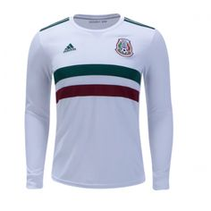 fa1dbe295 2018 World Cup Mexico Away White Long Sleeve Soccer Jersey Shirt Cheap Football  Shirts, Association