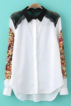Lace York Hidden Button Down Shirt - OASAP.com
