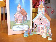 Cottontail Lane Bunny Chapel plus 4 Accessories - Lot of 5