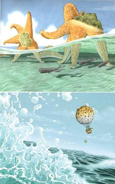 Flotsam, written and illustrated by David Wiesner.- starfish with mountains on their backs