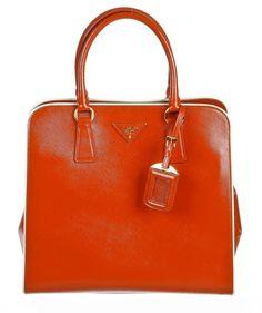 Prada Orange Patent Leather Saffiano Tote Handbag - $1,375