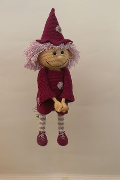 Good Witch pattern by Katka Reznickova - crochet Halloween Doll, Halloween Crochet, Holiday Crochet, Doll Patterns, Knitting Patterns, Crochet Patterns, Fingerless Gloves Crochet Pattern, Amigurumi Doll, Crochet Animals
