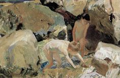 Joaquín Sorolla Bastida (1863-1923). Buscando mariscos. 1919. Óleo sobre lienzo. Colección Santander, Spain.