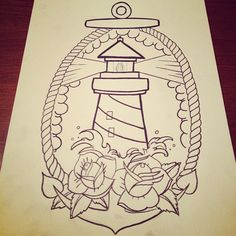 "Light house tattoo. Add some color to it, and the phrase ""I thank god for the light house"""