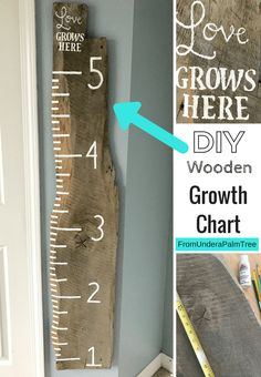 DIY Wooden Growth Chart by From Under a Palm Tree Now where to find a cut slab? Wooden Diy, Wooden Signs, Growth Chart Wood, Growth Chart Ruler, Growth Charts, Baby Nursery Diy, Budget Home Decorating, Kids Wood, Crafts To Make And Sell