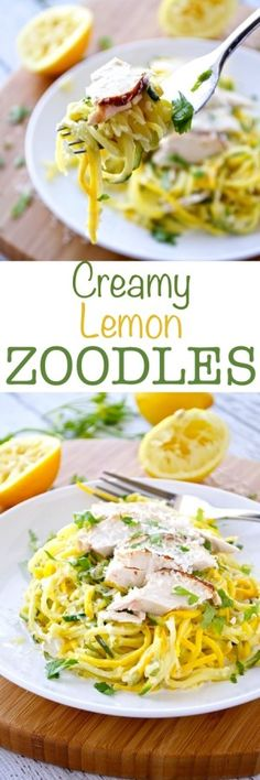 Creamy Lemon Zoodles 3-4 Medium Zucchini (yellow or green), spiralized into noodles Kosher Salt 1 Tablespoon Butter or Olive Oil 2 Lemons, zested and juiced ¼ Cup Heavy Cream 1 Cup Parmesan Cheese Freshly Ground Black Pepper 1 can canellini beans Fresh Parsley, for garnish