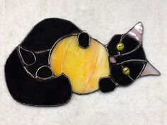 Halloween Cat Stained Glass Sun Catcher