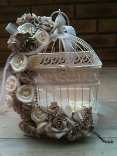 CREAM VINTAGE SHABBY CHIC BIRD CAGE MOCHA IVORY ROSES PEARLS CENTREPIECE
