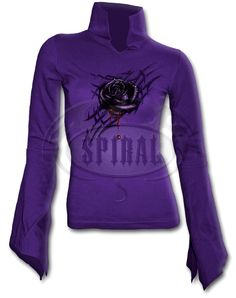 Spiral Gothic Purple Top Black Rose Dew Highneck Goth Sleeve [TR284246] - £12.59 :