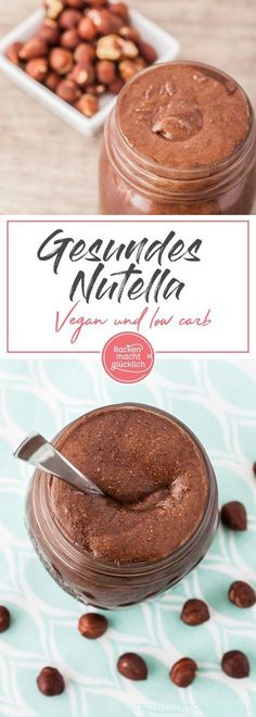 Do you fancy healthy Nutella? With this recipe for chocolate spread, you could make your own vegan, sugar-free, low carb Nutella. Make healthy Nutella yourself Baking makes you happy Gabriele Jesko Brotaufstrich Do you fancy healthy Nu Desserts Végétaliens, Low Carb Desserts, Dessert Recipes, Low Carb Sweets, Raw Food Recipes, Low Carb Recipes, Healthy Recipes, Diet Recipes, Snacks Recipes