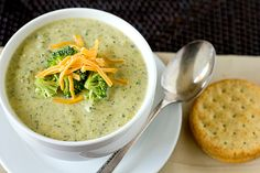 Broccoli Cheese Soup | browneyedbaker.com #soup #recipe