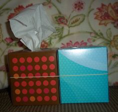 """Throw away dirty Kleenex into """"empty"""" Kleenex box! Genius!  Just rubber band boxes together!"""