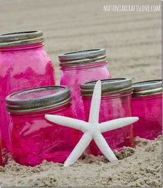 Pink Mason Jars DIY with Mod Podge and Food Coloring-7, THIS IS SO PRETTY, ALMOST VINTAGE LIKE, GONNA DO THESE SOON!.............mbeasley