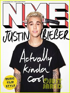 Justin Bieber Teared Up Watching the Amy Winehouse Documentary: Photo #892992. Justin Bieber has a little fun on this brand new cover of NME magazine.    The 21-year-old