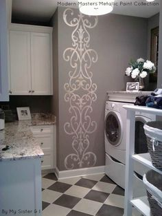 Laundry room accent wall stenciled with Modern Masters Metallic Paints I would be HAPPY to do laundry in this room!!!