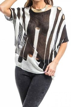 Striking black and white color blocking with strategically-placed, patterned holes make this lightweight, semi-sheer knit anything but common.    Batwing Hole Sweater by My Beloved. Clothing - Sweaters - Crew & Scoop Neck Washington