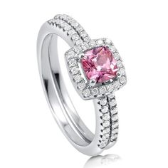 Sterling Silver Cushion Cut Pink Cubic Zirconia Halo Ring Set | Berricle #R576-PK  keep.com