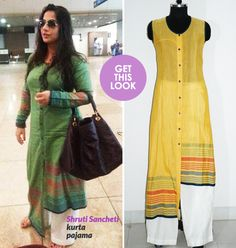 """Cannot resist putting up the description by the stylist, Jayati Bose: """"Vidya is wearing a finely woven khadi-silk kurta in moss green with pastel woven stripes. The version she wears has long sleeves. What's interesting about this kurta is that it has a hemline which is shorter on one side and long on the other. It also has hand crafted wooden buttons. It is teamed with a man's cotton white pajama."""""""