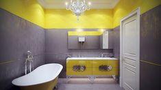 Wandfarbe Gelb, Ein Badezimmer Mit Einer Weißen Badewanne Und Mit Grauen  Und Gelben Wänden Und