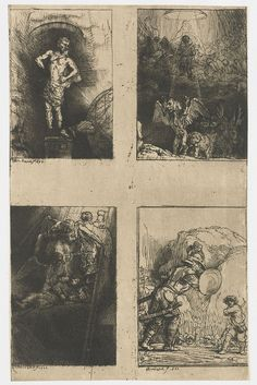 Four Illustrations to a Spanish Book (the Uncut plate):  The Statue of Nebuchadnezzar, Jacob's Ladder, David and Goliath, Daniel's Vision of the Four Beasts - Rembrandt van Rijn.  1655.  Etching, drypoint, and burin on paper.  25.2 x 16 cm.  Rijksmuseum, Amsterdam, Netherlands.