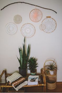 (be cool if the hoop was stained a color...or on a colored wall...or dye/tie dye the doilies)